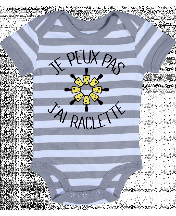 Body Bébé à Rayures Je peux pas j'ai Raclette - Freeyourshirt.com