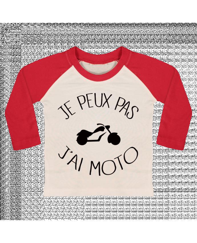 T-shirt Bébé Baseball Manches Longues Je Peux Pas J'ai Moto par Freeyourshirt.com