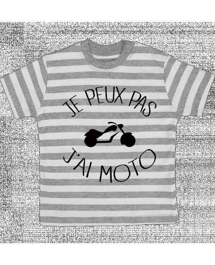 T-shirt Bébé à Rayures Je Peux Pas J'ai Moto par Freeyourshirt.com