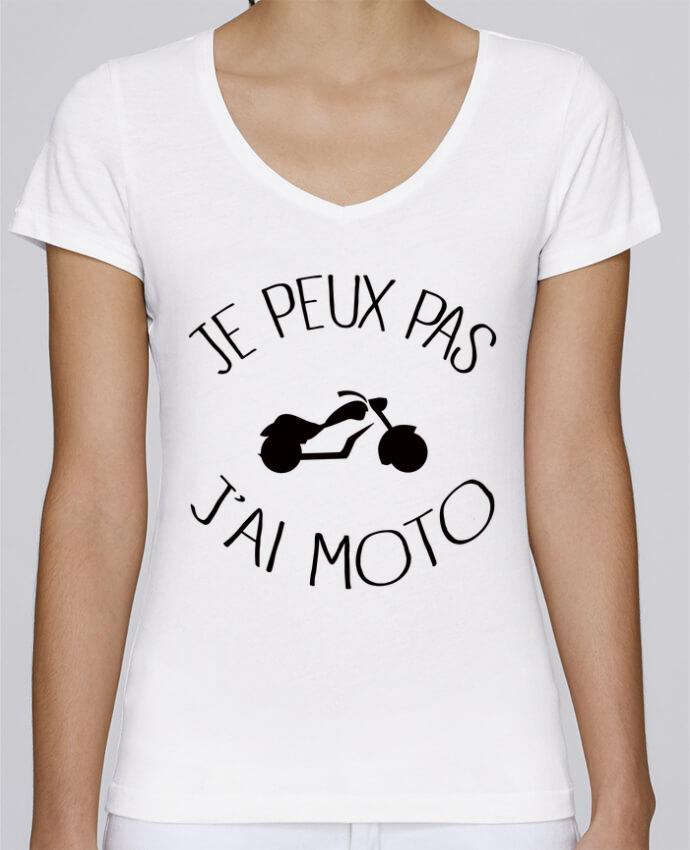 T-shirt Femme Col V Stella Chooses Je Peux Pas J'ai Moto par Freeyourshirt.com