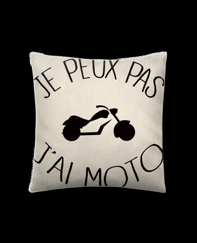 Coussin Toucher Peau de Pêche 41 x 41 cm Je Peux Pas J'ai Moto par Freeyourshirt.com