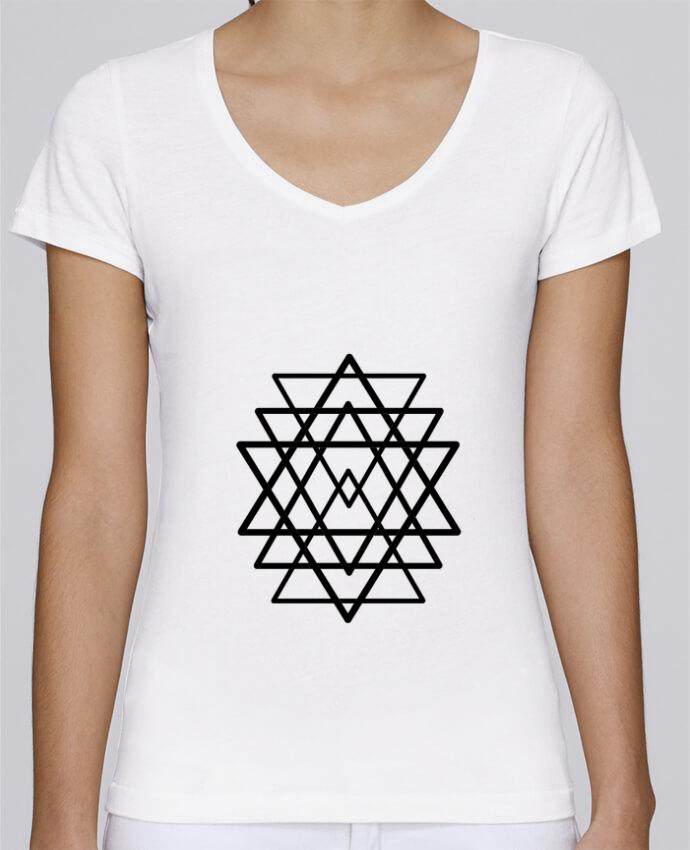 T Shirt Femme Col V Stella Chooses Tatouage Geometrique Wolf Rider