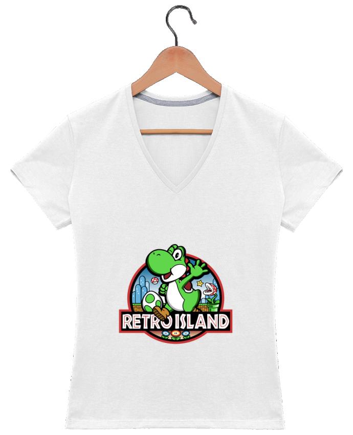 T-shirt Col V Femme 180 gr Retro Park par Kempo24