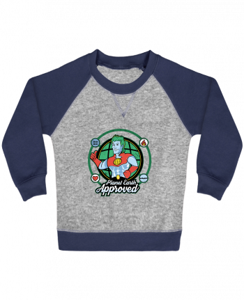 Sweat Shirt Bébé Col Rond Manches Raglan Contrastées Planet Earth Approved par Kempo24