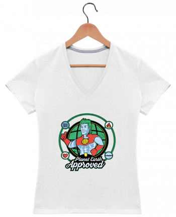 T-shirt Col V Femme 180 gr Planet Earth Approved par Kempo24