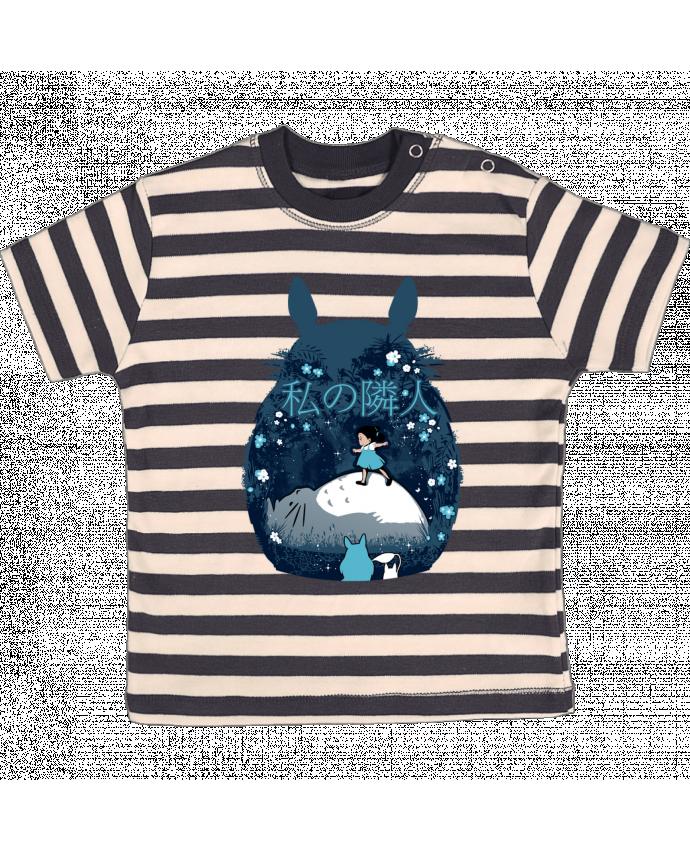 T-shirt Bébé à Rayures My neighbour night par Kempo24
