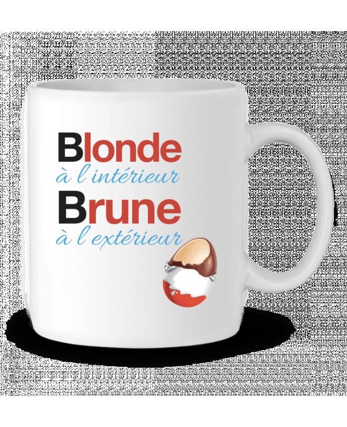 Mug en Céramique Blonde à l'intérieur / Brune à l'extérieur par Monidentitevisuelle