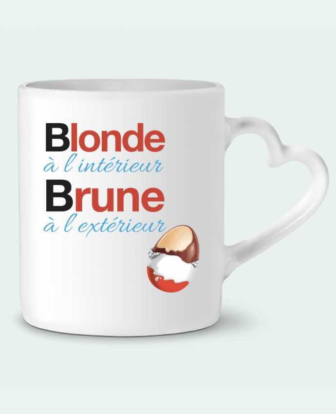 Mug Coeur Blonde à l'intérieur / Brune à l'extérieur par Monidentitevisuelle