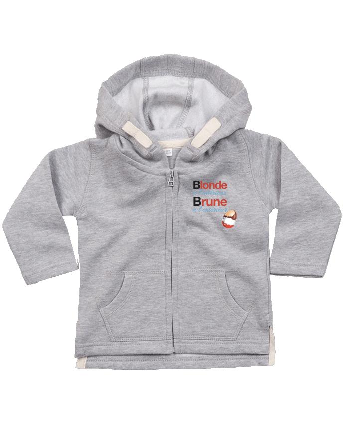 Sweat à capuche bébé zippé Blonde à l'intérieur / Brune à l'extérieur par Monidentitevisuelle
