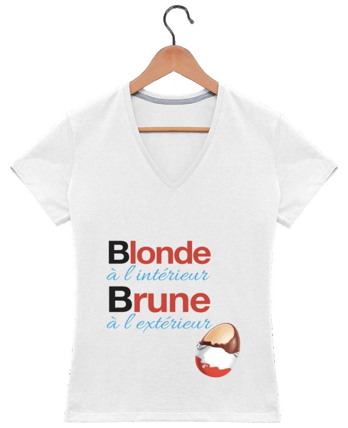 T-shirt Col V Femme 180 gr Blonde à l'intérieur / Brune à l'extérieur par Monidentitevisuelle
