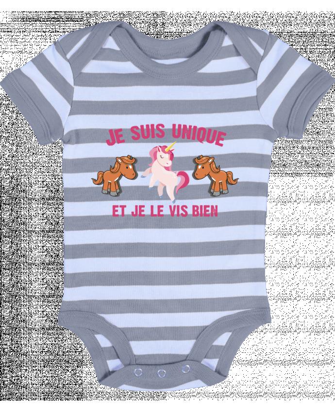 Body Bébé à Rayures Je suis unique et je le vis bien - tunetoo