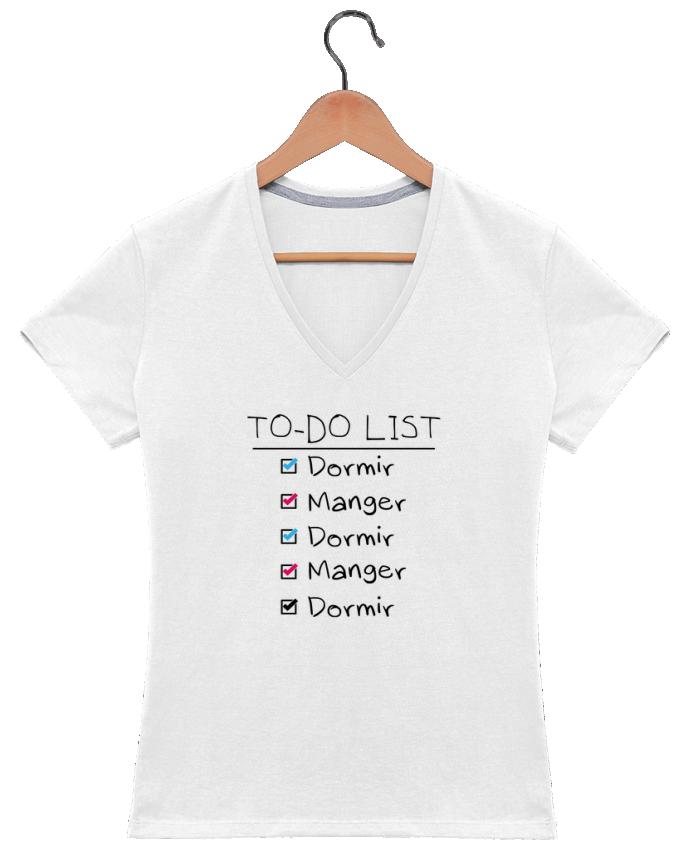 T-shirt Col V Femme 180 gr To do liste par tunetoo