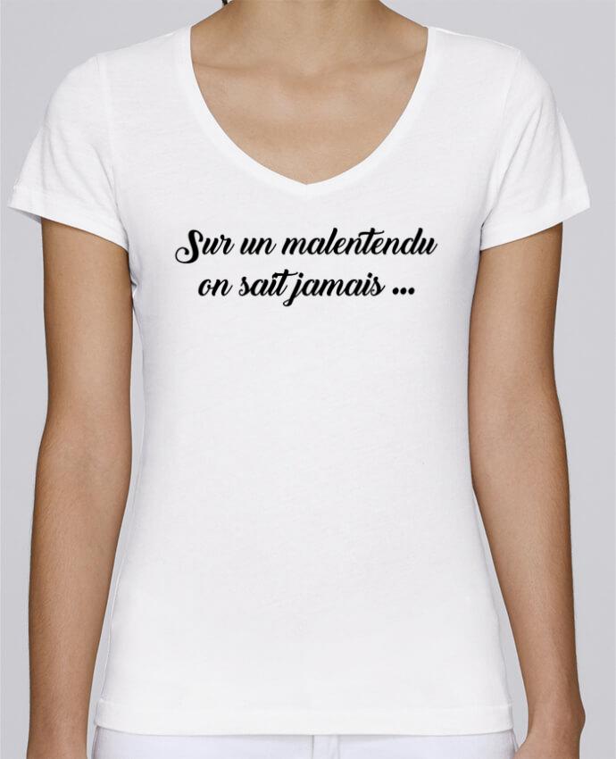 T-shirt Femme Col V Stella Chooses Sur un malentendu on sait jamais par tunetoo