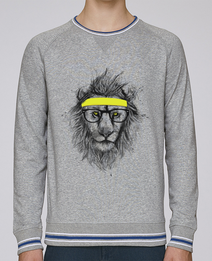 new style 74649 41527 1936833-sweat-homme-col-rond-stanley-strolls-tipped-h-grey-white-deep-royal-blue-hipster-lion-by-balazs-solti.png