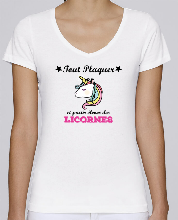 T-shirt Femme Col V Stella Chooses Tout plaquer et partir élever des licornes par tunetoo