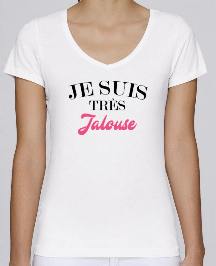 T-shirt Femme Col V Stella Chooses Je suis très jalouse par tunetoo