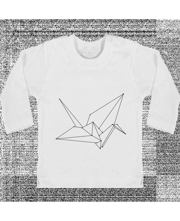 T-shirt Bébé Manches Longues Boutons Pression Origami bird manches longues du designer /wait-design