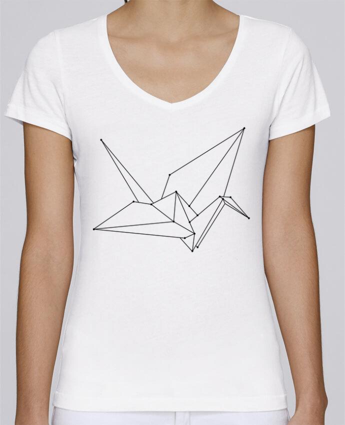 T-shirt Femme Col V Stella Chooses Origami bird par /wait-design