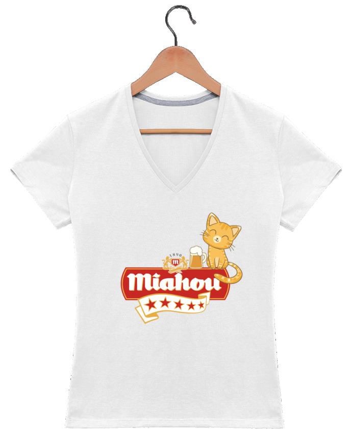 T-shirt Col V Femme 180 gr Miahou par ParanoiaRecords