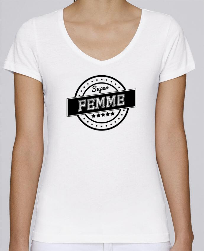 T-shirt Femme Col V Stella Chooses Super femme par justsayin
