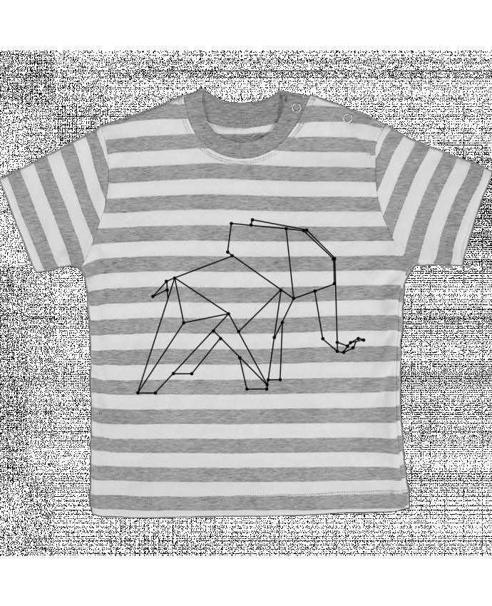 T-shirt Bébé à Rayures Origami elephant par /wait-design