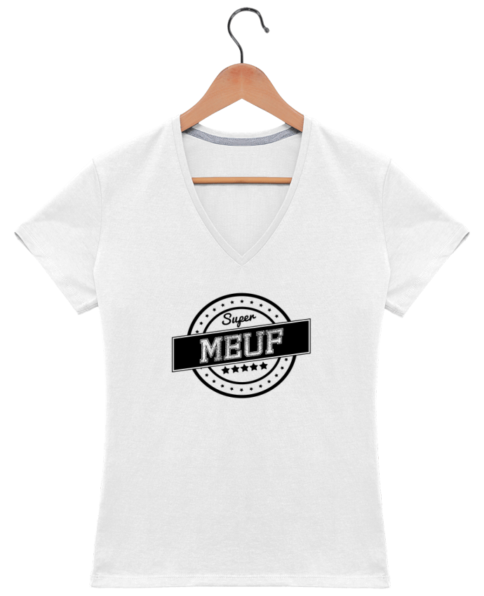 T-shirt Col V Femme 180 gr Super meuf par justsayin
