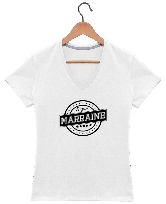 T-shirt Col V Femme 180 gr Super marraine par justsayin