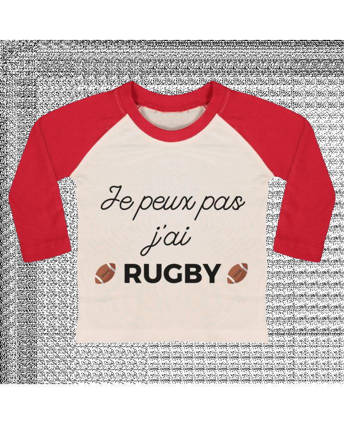 T-shirt Bébé Baseball Manches Longues Je peux pas j'ai Rugby par Ruuud