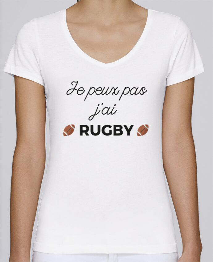 T-shirt Femme Col V Stella Chooses Je peux pas j'ai Rugby par Ruuud