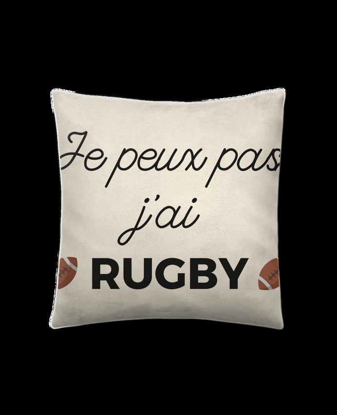 Coussin Toucher Peau de Pêche 41 x 41 cm Je peux pas j'ai Rugby par Ruuud