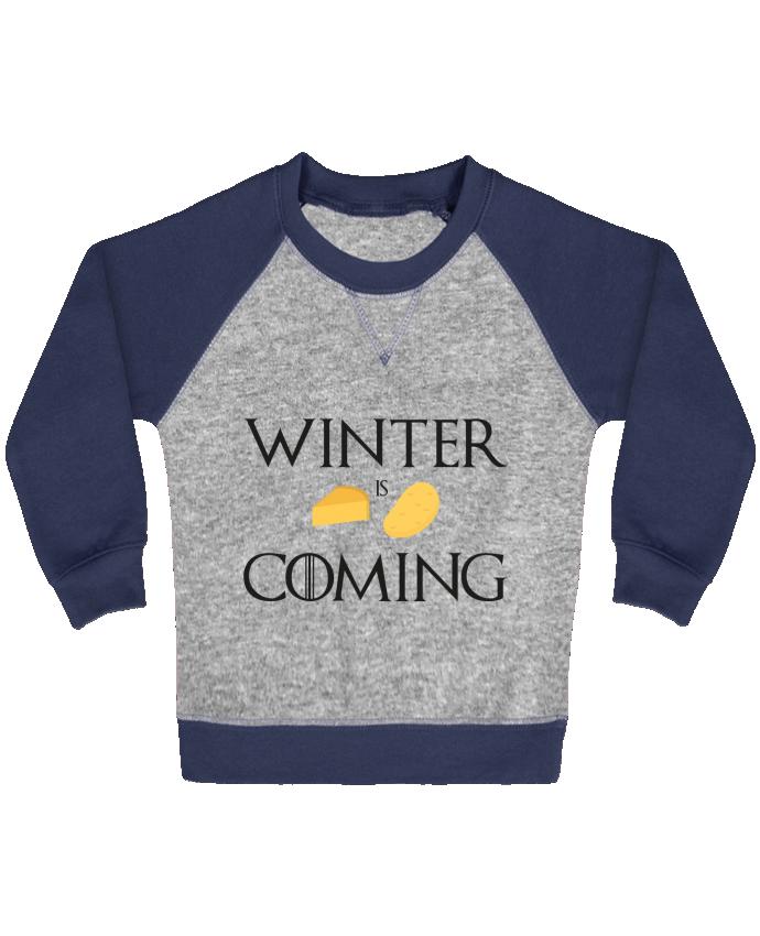 Sweat Shirt Bébé Col Rond Manches Raglan Contrastées Winter is coming par Ruuud