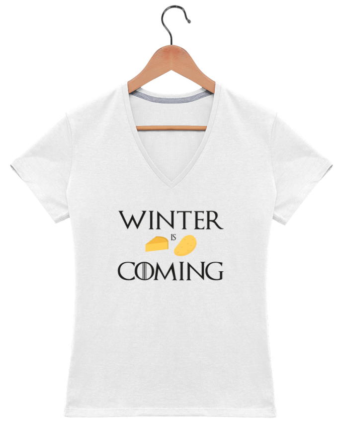 T-shirt Col V Femme 180 gr Winter is coming par Ruuud