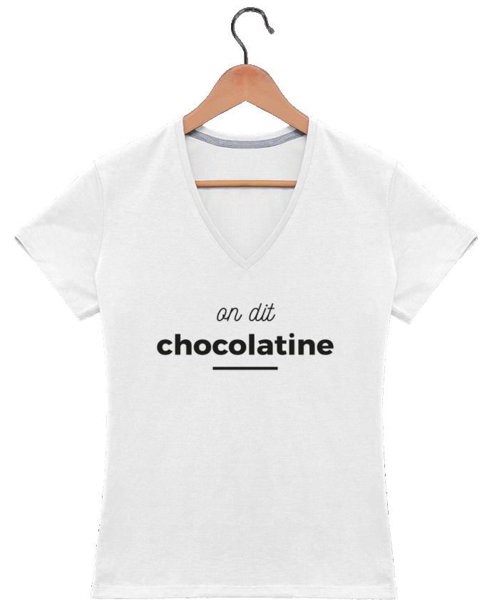 T-shirt Col V Femme 180 gr On dit chocolatine par Ruuud