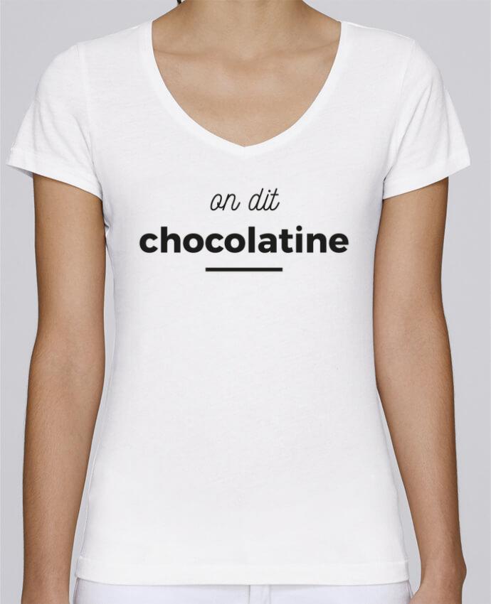 T-shirt Femme Col V Stella Chooses On dit chocolatine par Ruuud