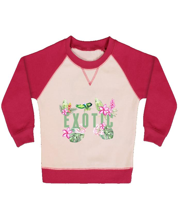 Sweat Shirt Bébé Col Rond Manches Raglan Contrastées Exotic par Les Caprices de Filles