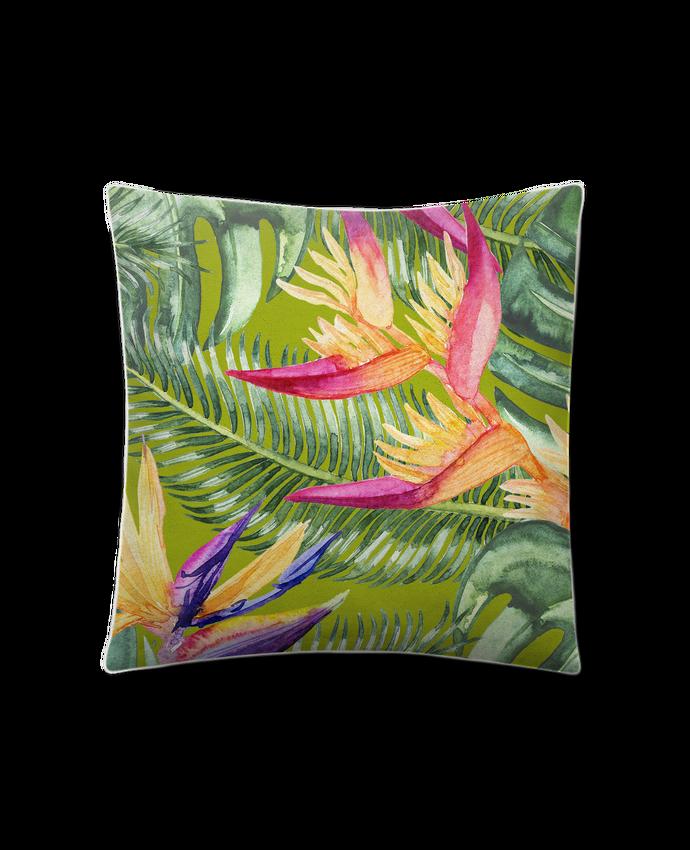 Coussin Toucher Peau de Pêche 41 x 41 cm Fleurs exotiques par Les Caprices de Filles