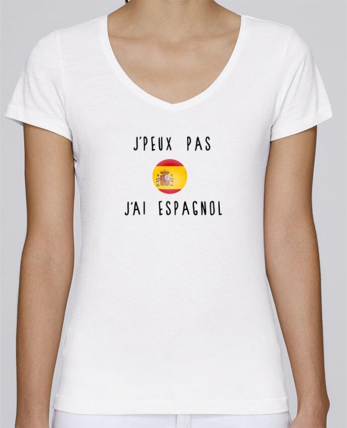 T-shirt Femme Col V Stella Chooses J'peux pas j'ai espagnol par Les Caprices de Filles