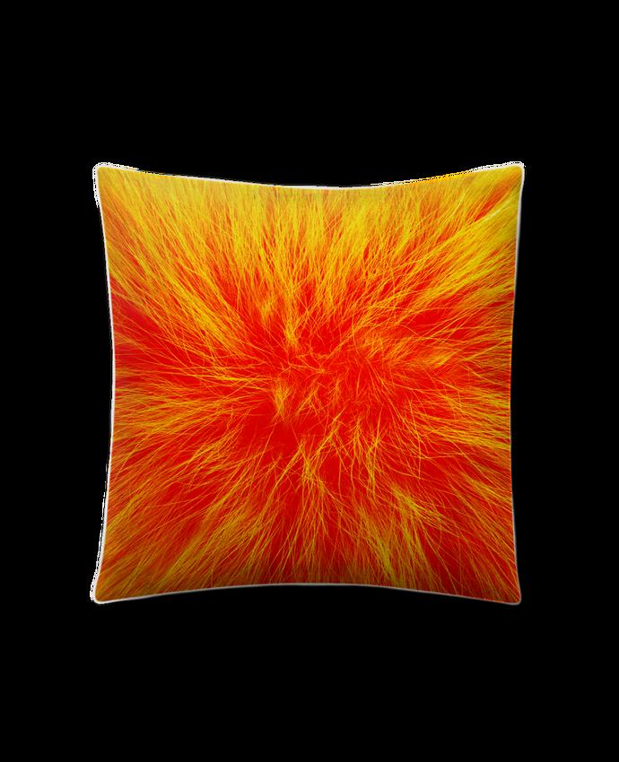 Coussin Toucher Peau de Pêche 41 x 41 cm Fourrure orange sanguine par Les Caprices de Filles