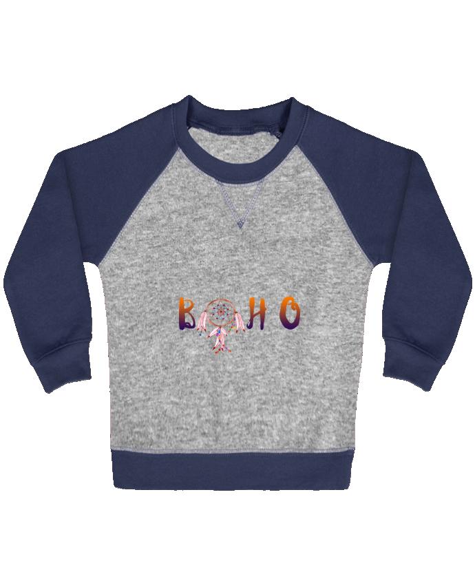 Sweat Shirt Bébé Col Rond Manches Raglan Contrastées Boho par Les Caprices de Filles