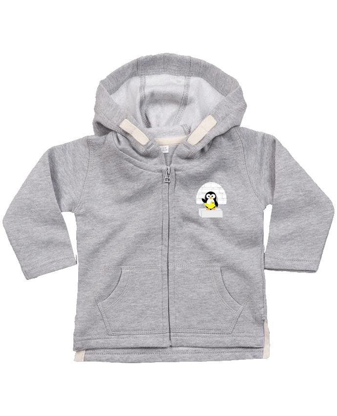Sweat Bébé Zippé à Capuche Le Pingouin par Les Caprices de Filles