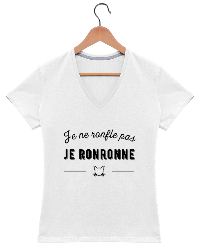 T-shirt Col V Femme 180 gr je ronronne t-