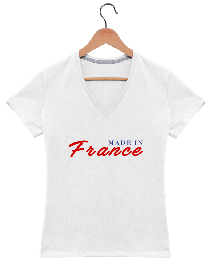 T-shirt Col V Femme 180 gr MADE IN FRANCE par Graffink