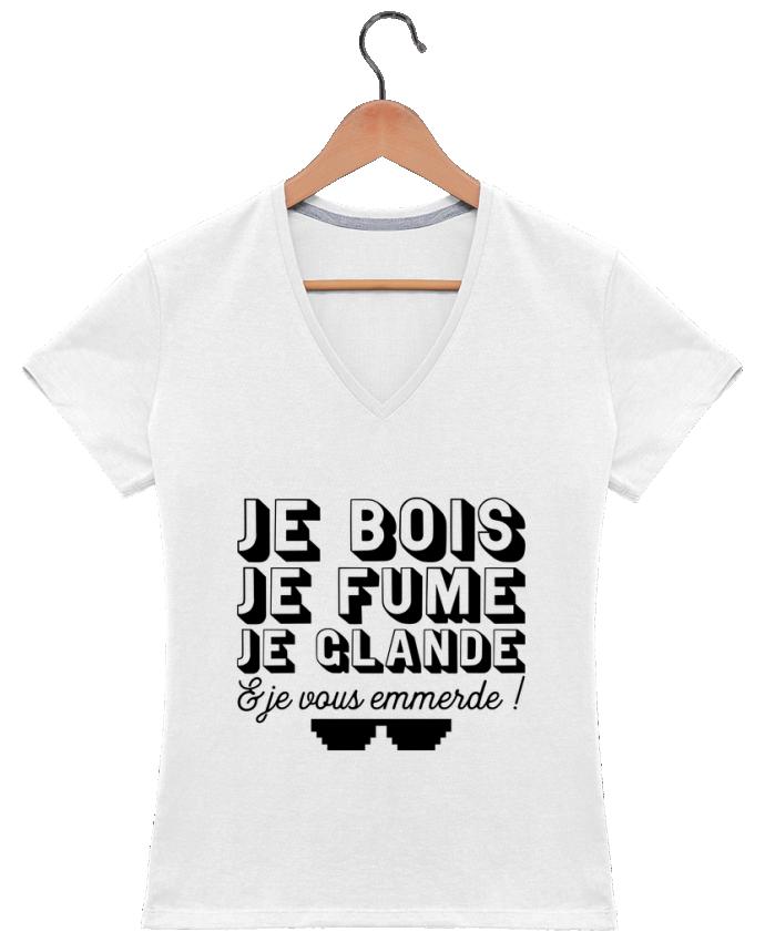 T-shirt Col V Femme 180 gr je glande t-shirt