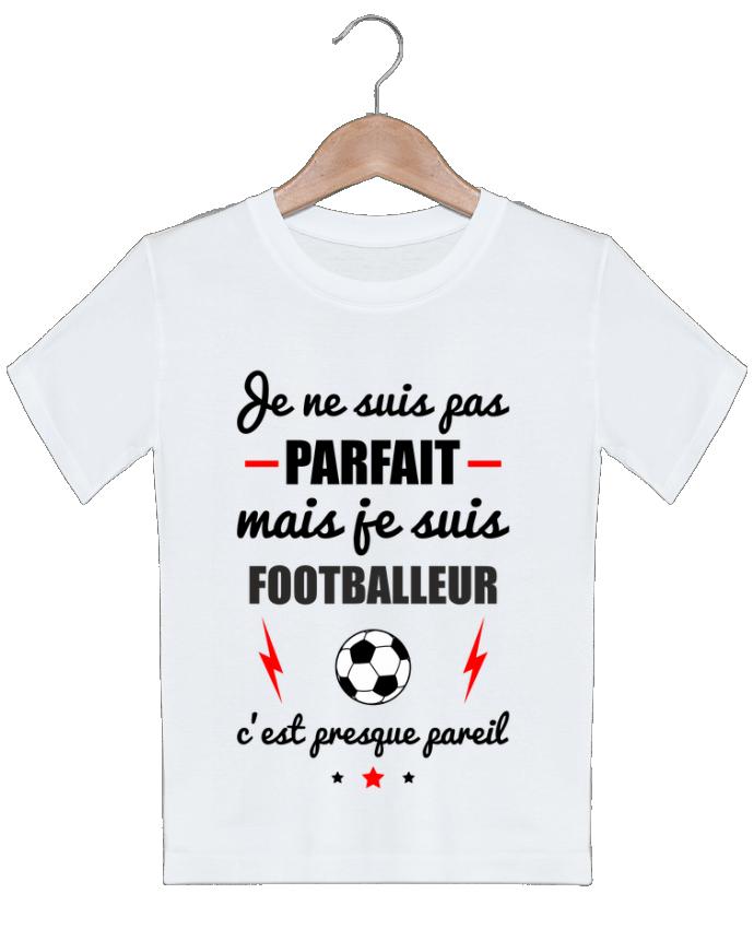 T-shirt garçon motif Je ne suis pas parfait mais je suis footballeur c'est presque pareil Benichan