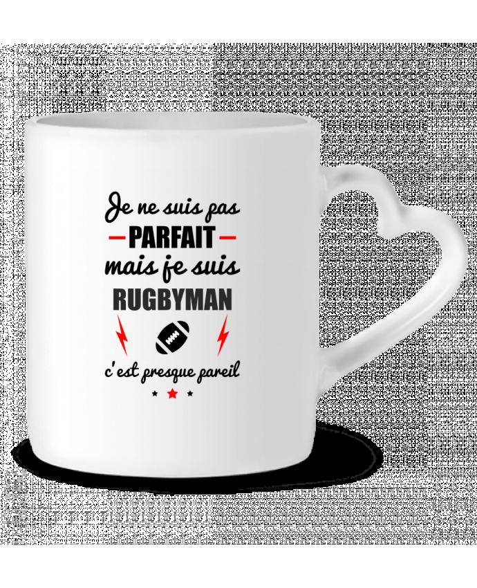 Mug Coeur Je ne suis pas parfait mais je suis rugbyman c'est presque pareil par Benichan