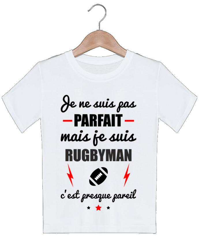 T-shirt garçon motif Je ne suis pas parfait mais je suis rugbyman c'est presque pareil Benichan