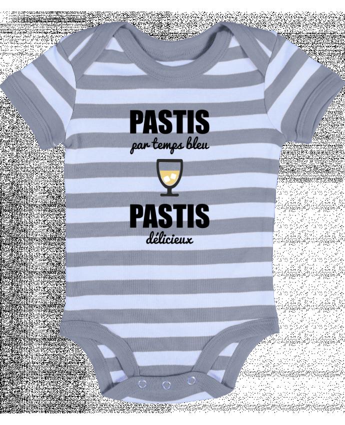 Body Bébé à Rayures Pastis par temps bleu pastis délicieux - Benichan