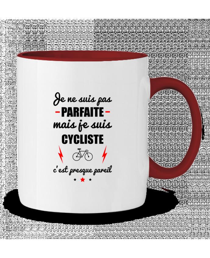 Mug en Céramique Bicolore Je ne suis pas parfaite mais je suis cycliste c'est presque pareil Benichan