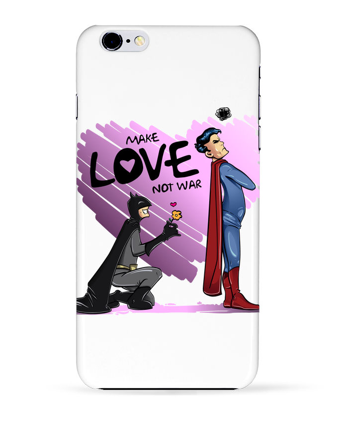 Coque 3D Iphone 6+ MAKE LOVE NOT WAR (BATMAN VS SUPERMAN) de teeshirt-design.com