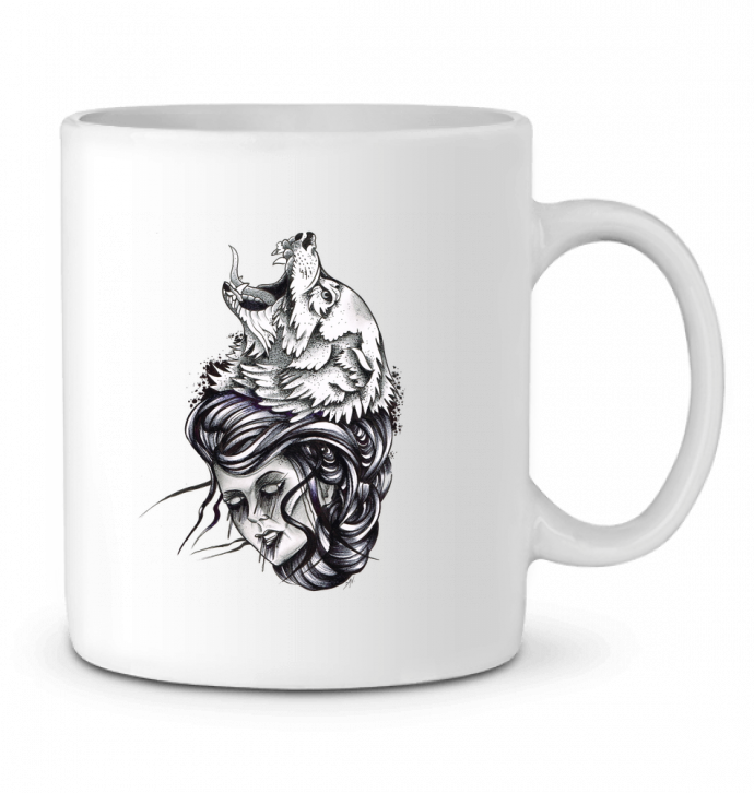 Mug en Céramique Femme & Loup par david
